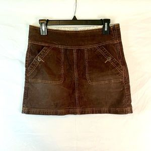 PrAna brown canyon corduroy mini skirt
